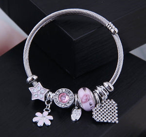 NIRUMON Crystal Heart, Pink Daisy and other Charms Bracelet