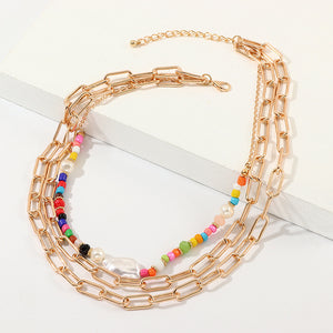 NIRUMON Beads & Chains Multilayered Fashion Necklace - NIRUMON