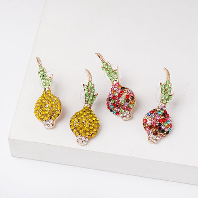 NIRUMON Rhinestone Inlaid Fruit Design Statement Earrings - NIRUMON
