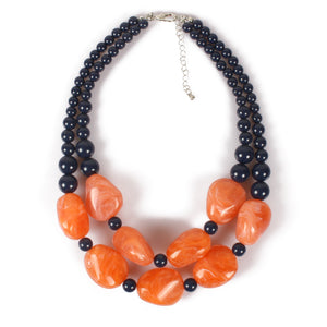 NIRUMON Black & Orange Beaded Handmade Chunky Necklace