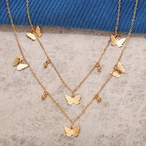 NIRUMON Butterfly Pendants Dual Layered Golden Necklace