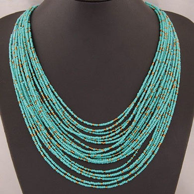 NIRUMON Handmade Turquoise Beaded Layered Necklace