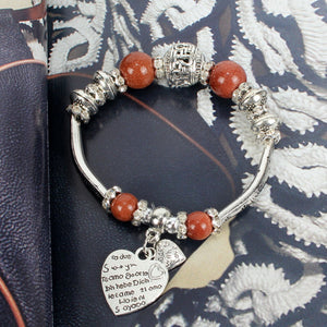 NIRUMON Coloured & Silver Beaded Elastic Silver Charm Bracelet - NIRUMON