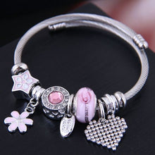 Load image into Gallery viewer, NIRUMON Crystal Heart, Pink Daisy and other Charms Bracelet