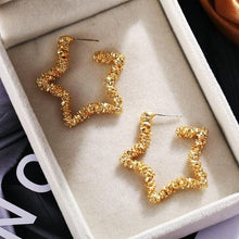 Load image into Gallery viewer, NIRUMON Coarse Texture Star Golden Statement Earrings