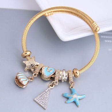 NIRUMON Star Fish & Seashell Crystal Golden Charm Bracelet