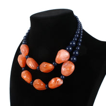 Load image into Gallery viewer, NIRUMON Black & Orange Beaded Handmade Chunky Necklace