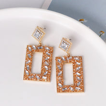 Load image into Gallery viewer, NIRUMON Diamond Inlaid Rectangular Design Statement Earrings - NIRUMON
