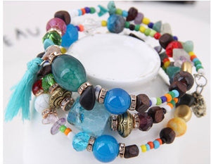 NIRUMON Stone & Multicolored Beaded Boho Style Handmade Layered Bracelet - NIRUMON
