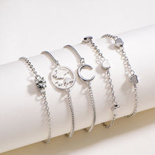 Load image into Gallery viewer, NIRUMON 5 Piece Silver Charm Bracelet Set