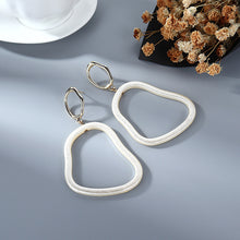 Load image into Gallery viewer, NIRUMON Geometric Design White Acrylic Hoop Earrings