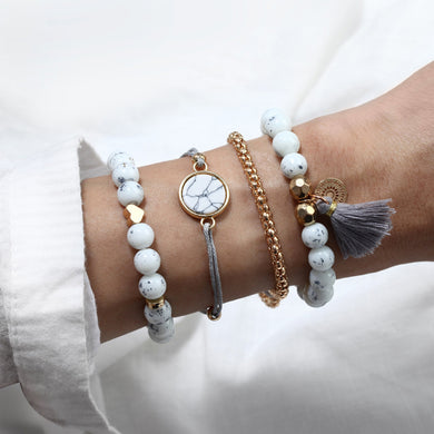 NIRUMON 4 Piece Marble Beaded and Golden Bracelets