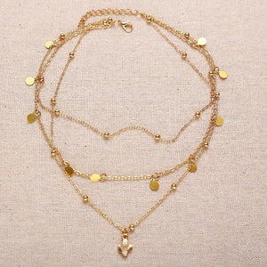 NIRUMON Layered Choker Golden Necklace