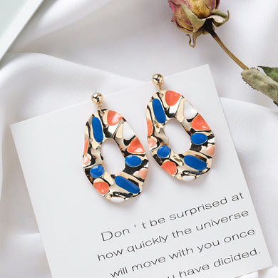 NIRUMON Retro Color Geometric Design Statement Earrings - NIRUMON