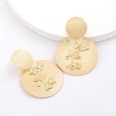 NIRUMON Multi Layer Round Flowers Golden Statement Earrings
