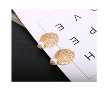 Load image into Gallery viewer, NIRUMON Pearl Stud Honeycomb Design Golden Statement Earrings