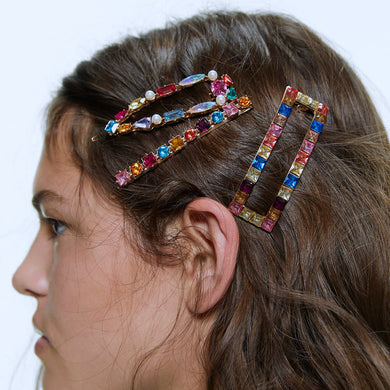 NIRUMON Rhinestone Inlaid Geometric Design Hair clips - NIRUMON