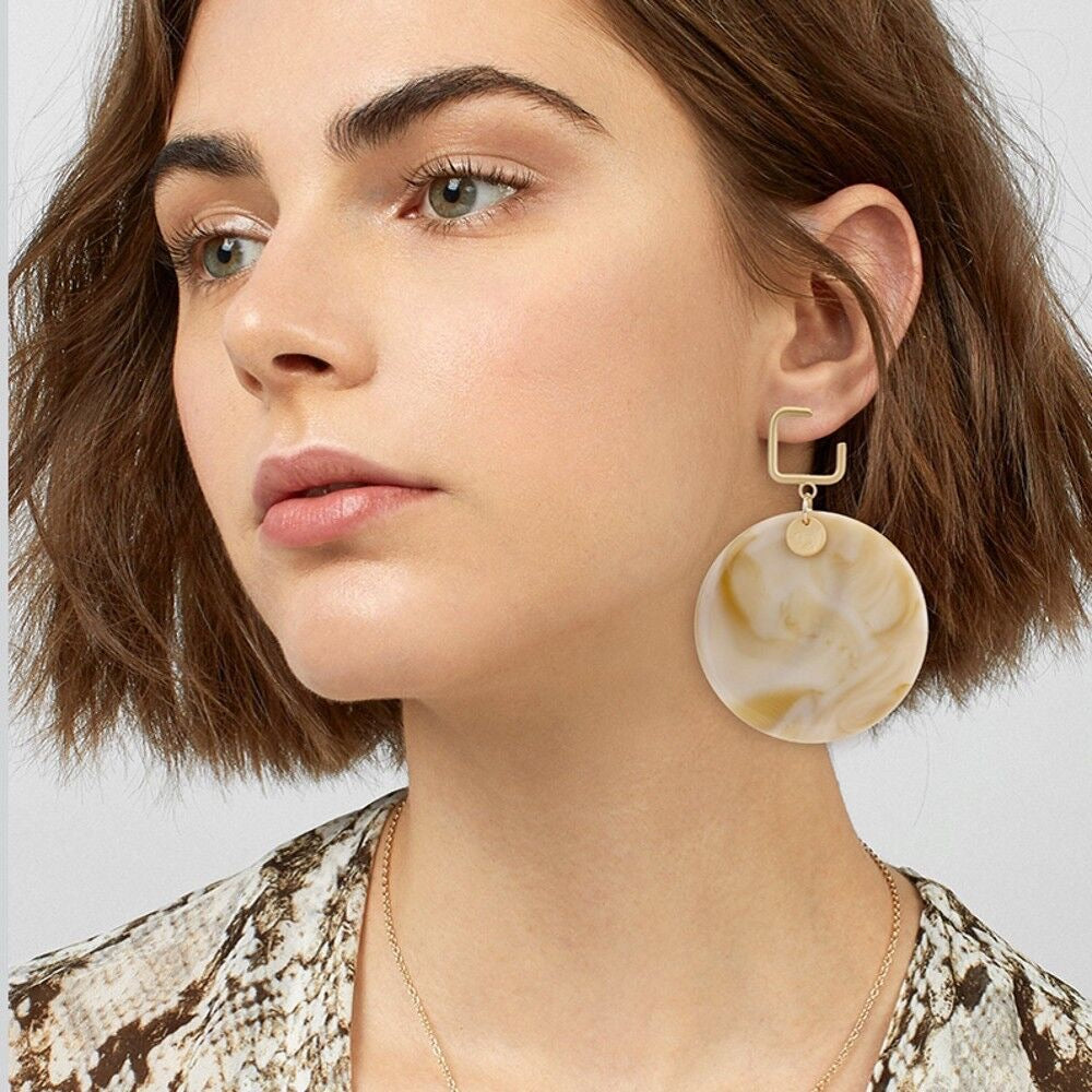 NIRUMON Round Shape Marble Acrylic Fashion Earrings