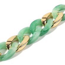 Load image into Gallery viewer, NIRUMON Sea Green & Golden Acrylic Chunky Bracelet