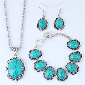 NIRUMON Artificial Turquoise Inlaid Vintage Necklace Earrings and Bracelet Set - NIRUMON