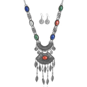 NIRUMON Multicolor Gems Embellished Arch Pendant Chunky Statement Necklace and Earrings Set - NIRUMON
