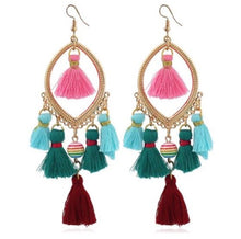 Load image into Gallery viewer, NIRUMON Bead and Tassel Multicolor Statement Hoop Earrings - NIRUMON