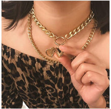 Load image into Gallery viewer, NIRUMON Openable Heart Pendant Dual Layers Chunky Chain Golden Fashion Necklace - NIRUMON