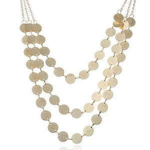 NIRUMON Glistening Paillettes Golden Fashion Necklace - NIRUMON