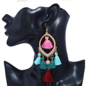 NIRUMON Bead and Tassel Multicolor Statement Hoop Earrings - NIRUMON