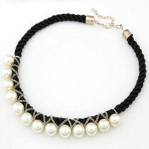NIRUMON Pearl Entwined Short Weaving Black Fashion Necklace - NIRUMON