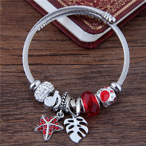 NIRUMON Leaf and Starfish Pendants & Beads Fashion Bangle - NIRUMON
