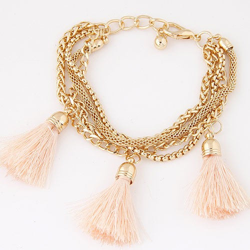 NIRUMON Multi-layer Chains with Thread Tassel Design Fashion Bracelet - NIRUMON