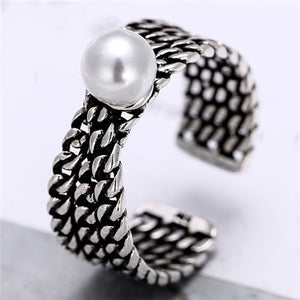 NIRUMON Pearl Inlaid Chain Style Vintage Silver Fashion Ring - NIRUMON