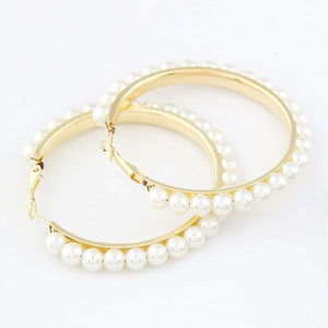 NIRUMON Pearl & Alloy Hoop Statement Earrings - NIRUMON