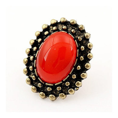 NIRUMON Oval Shaped Gem Inlaid Rim Design Vintage Ring (Free Size) - NIRUMON