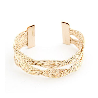 NIRUMON Alloy Weaving Threads Golden Statement Bangle - NIRUMON