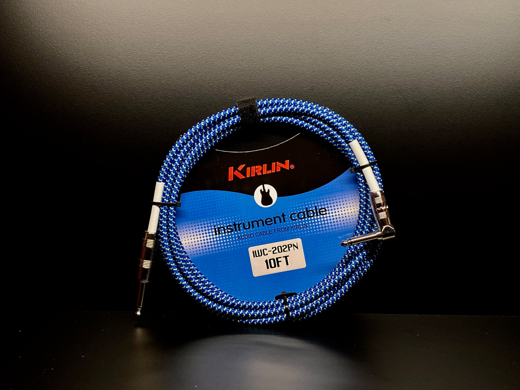 Kirlin 10ft Fabric Cable Blue Angled Jack