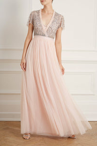 Andromeda Cap Sleeve V-Neck Gown