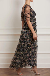 Avery Bloom Smocked Gown - Black
