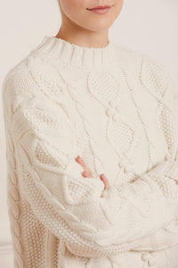 Bonnie Cable Longline Jumper - Cream