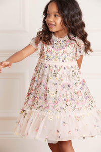 Dragonfly Garden Kids Dress - Pink