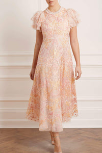 Elin Blossom Ankle Gown - Pink