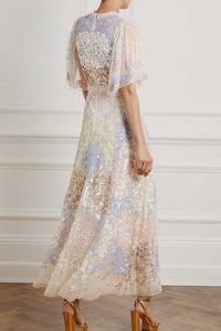 Eliza Sequin Ankle Length Gown - Beige