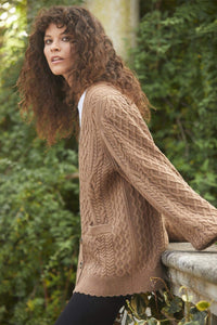 Elsie Cable Longline Cardigan - Brown