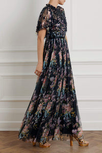 Floral Diamond Bodice Maxi Dress