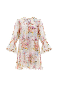 Floral Diamond Chiffon Dress