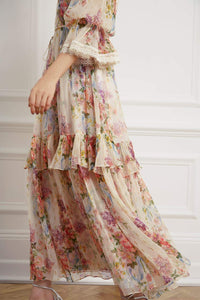 Floral Diamond Chiffon Gown