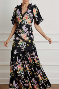Floral Diamond Elsa V-Neck Gown