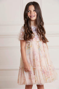 Floral Diamond Sequin Kids Dress - Pink