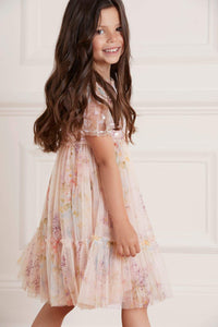 Floral Diamond Sequin Kids Dress